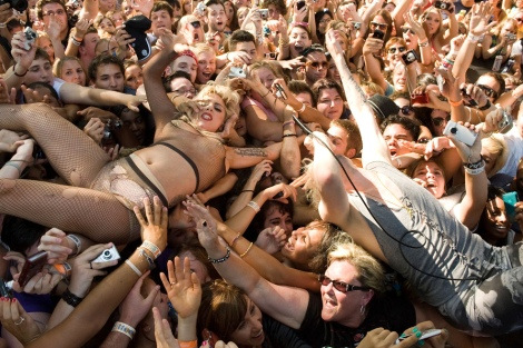 Lady Gaga crowd-surfing, courtesy of BULLETT Media.