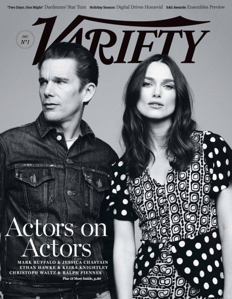 Ethan Hawke and Keira Knightley grace the cover of VARIETY Magazine's December 2014 issue.