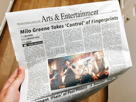 Milo Greene Takes 'Control' of Fingerprints article in the New University, UC Irvine. 2/3/2015.