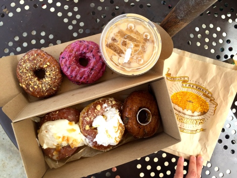Sidecar Doughnuts & Coffee, featuring daily and seasonal flavors from March with a Vietnamese Iced Coffee. Costa Mesa, CA. 3/2015.