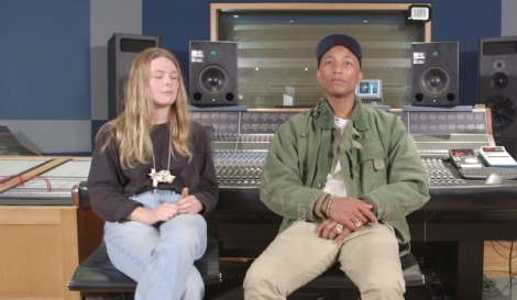 Pharrell Williams with NYU student Maggie Rogers as he hosted a masterclass for the Clive Davis Institute of Recorded Music.