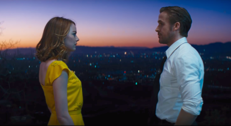 Emma Stone and Ryan Gosling as Mia and Sebastian in
